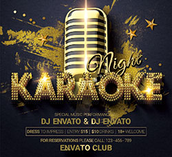 精致的卡拉OK派对海报传单PSD模板:Karaoke Night Party Flyer