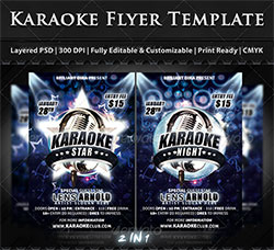 2个卡拉OK海报传单PSD模板:Karaoke Star Or Night Party Flyer