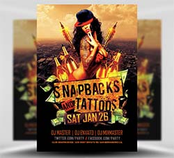性感派对传单模板:Snapbacks and Tattoos Flyer Template