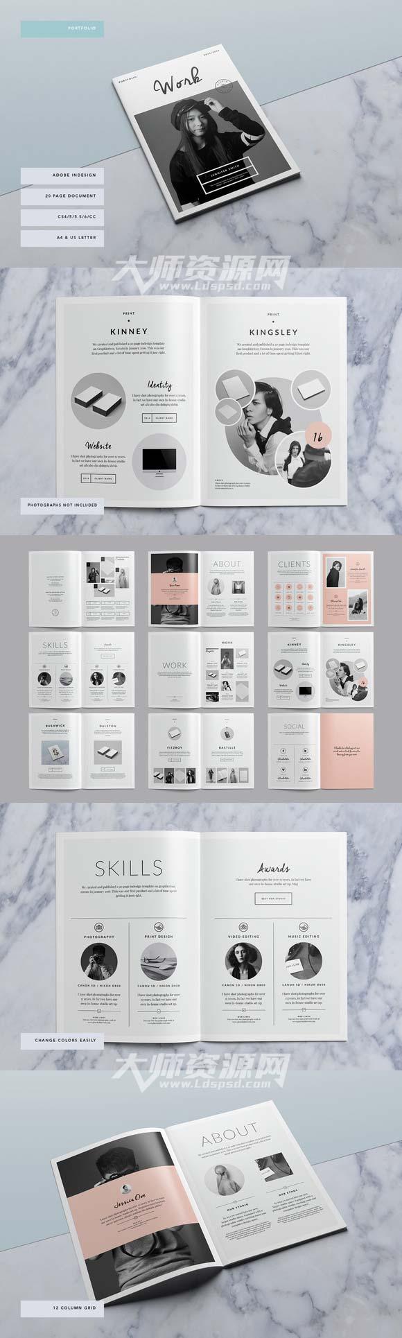 免費:indesign模板-產品宣傳畫冊:bushwick portfolio圖片