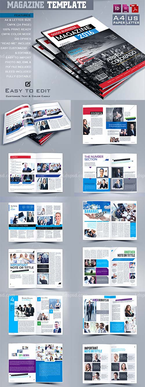 Multipurpose Magazine Template,indesign模板-商业杂志/招生简章(24页)