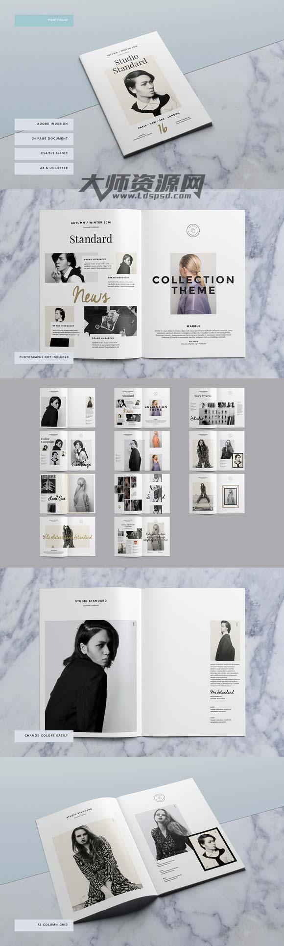 免费:indesign模板-摄影工作室画册模板:studio lookbook图片