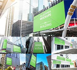 15个建筑外墙广告牌模型:15 Billboards Mockup on Building Vol.2