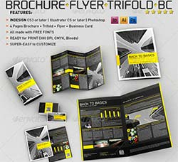 indesign/AI/PS模板-手册/传单/折页/名片:4 Pages Brochure + Trifold + Fl