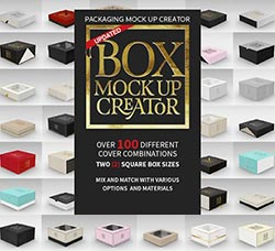 可自由定制的包装盒展示模型:Box Packaging MockUp Creator 1