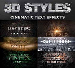 10个电影片头3D文字模板(第三版):3D Cinematic Text Effects Vol.3