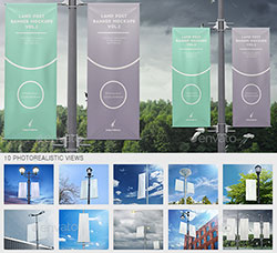 10个城市灯柱广告牌模型:City Lamp Post Banners Mock-Ups Vol.2