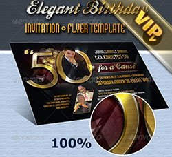 生日派对邀请函模板:Elegant Birthday Invite Flyer Template