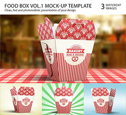 膨化食品盒展示模型(3种方位):Food Box Vol.1 Mock-up Template