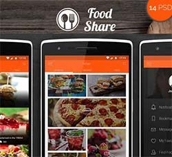 UI设计-美食类程序界面:Food Share - Food App Template UI