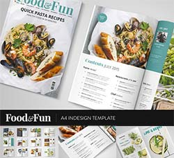 indesign模板-产品手册(食品类/24页):Food&Fun Magazine InDesign Template