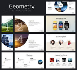 PPT模板-产品介绍(含动画/视频演示/250个图标/120页):Geometry PowerPoint Template