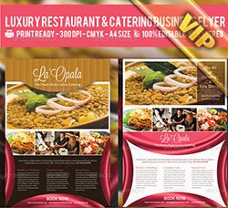 餐饮行业宣传单模板:Luxury Restaurant & Catering Flyer