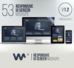 53个PC及手机屏幕展示模型:Responsive Website Devices & Screen Mockups