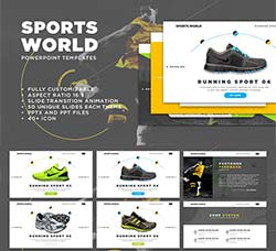 PPT模板-销售汇报(体育用品类):Sports World PowerPoint Templates