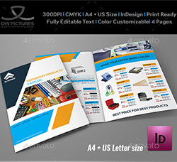 indesign模板-办公文具产品手册(双折页):Stationery Products Catalog Bi- Fold Brochure