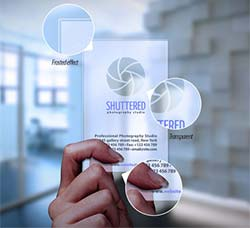 2套透明的名片展示模型:Transparent Business Card Mockup