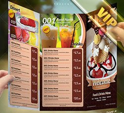 菜谱菜单三折页模板:Tri-Fold Restaurant Menu Template