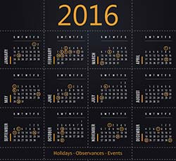 16套矢量的2016日历模板:Vector calendar 2016 with dates of holidays
