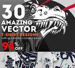 30个极具个性的T恤图案:30 Amazing Vector T-shirt Designs with an Exten