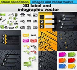 24套矢量的3D标签素材合集:3D label and modern infographic vector 24 x E