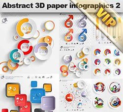 信息数据图表:Abstract 3D Paper Infographics 2