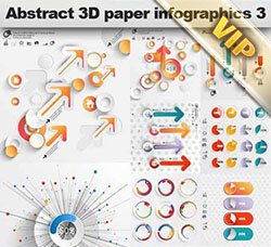 信息数据图表:Abstract 3D Paper Infographics 3