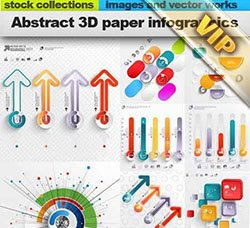信息数据图表:Abstract 3D paper infographics