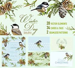 圣诞节素材包:Christmas Pack Cards, Tags, Elements