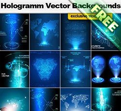 科技背景:Hologramm Vector Backgrounds
