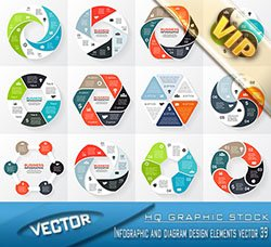 信息数据图表:Infographic and diagram design elements vector