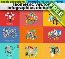 办公图案:Isometric vector infographics elements