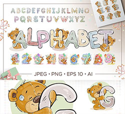矢量的卡通熊字母表合集(含AI/EPS/JPG/PNG等格式):Kids alphabet with cartoon bear