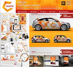 精美的VIS(企业视觉识别系统)模板:Mega Brand Corporate-Identity-Cosmic