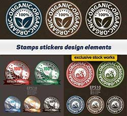 8个矢量的绿色食品标签:Stamps stickers design elements 8x EPS