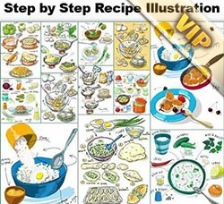 美食类插画:Step by Step Recipe Illustrations