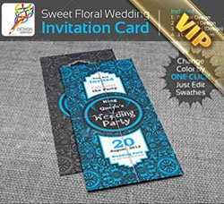高档的邀请函模板:Sweet Floral Wedding Engagement Party Invitation
