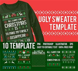 10套矢量的毛衣花纹和文字模板:Ugly Sweater Templates