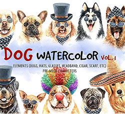108张高清透明的北欧风狗类/狗装饰品PNG图片:Dog watercolor.Animal Clip art. Dog watercolor painted Vol.1