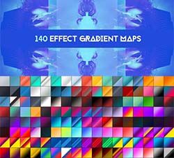 PS渐变-140个图像混合专用的预设:140 Effects gradient map pack