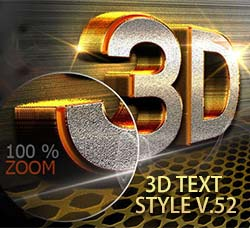 PS图层样式-7个3D文本效果:3D Text Style V.52