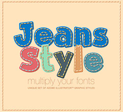 极品AI样式-牛仔风格:Adobe Illustrator styles Jeans