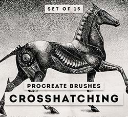 极品Procreate笔刷-15支剖面线效果:Crosshatching Procreate brushes