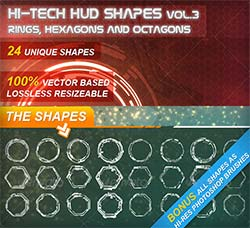 PS/AI画笔-科技元素:Hi-Tech HUD Shapes Vol.3