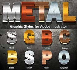 极品AI样式-金属效果:Metal Graphic Styles for Illustrator