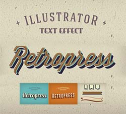 AI图形样式-3个复古式效果:Retropress Illustrator Text Effects