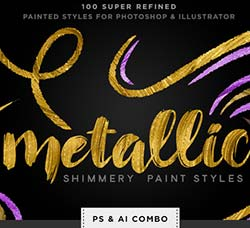 金属涂料纹理预设:Shimmery Metallic Paint Styles Ps+Ai