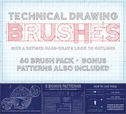 AI画笔-60个草图专用的笔刷:Technical Drawing Brushes