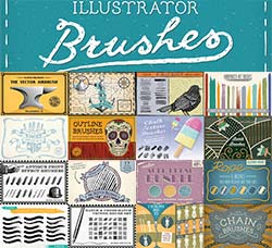 AI画笔-18套486支艺术笔刷:The Illustrator Brushes Mega-Bundle