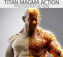 PS动作-岩浆裂纹:Titan - Magma Photoshop Action